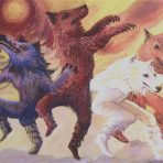 Dancing Wolves Note Card