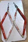 Lakota Porcupine Quill Earrings Diamond Orange/White