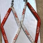 Lakota Porcupine Quill Earrings Diamond Orange/White