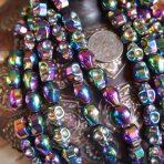 Titanium-plated Rainbow Hematite Skull Beaded Bracelet